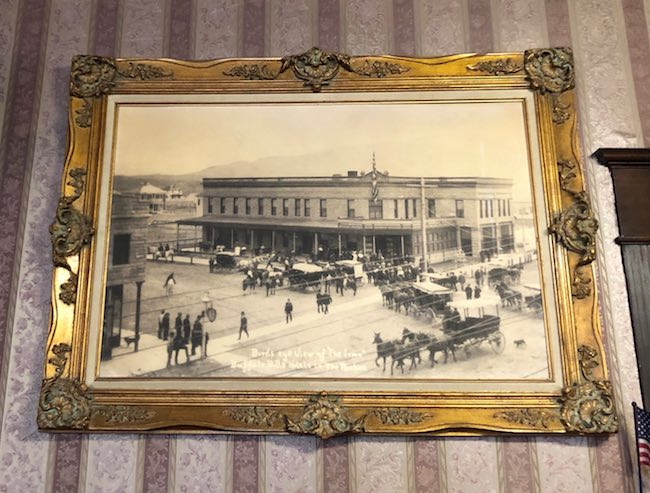 Vintage photo of The Irma in downtown Cody in 1908. Photo by Claudia Carbone