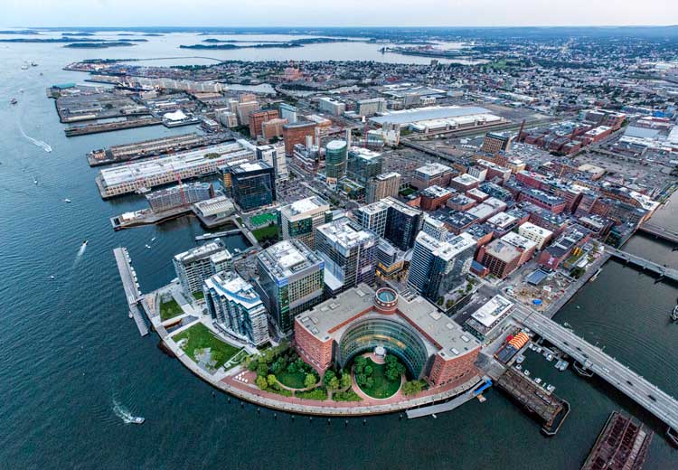 Aerial view of the Seaport District, Boston's fastest-growing neighborhood in Boston. Photo by Kyle Klein