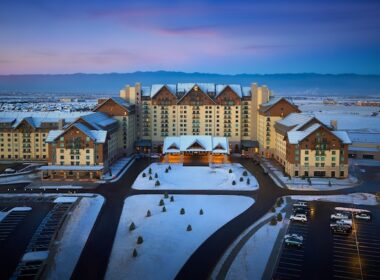 Gaylord Rockies Resort & Convention Center with the Colorado Rockies in the distance. Photo courtesy of Gaylord Rockies