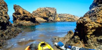 Kayaking on Santa Cruz Island in California. Photo by Rina Nehdar