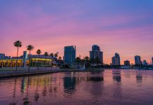 St. Petersburg, Florida at sunset.