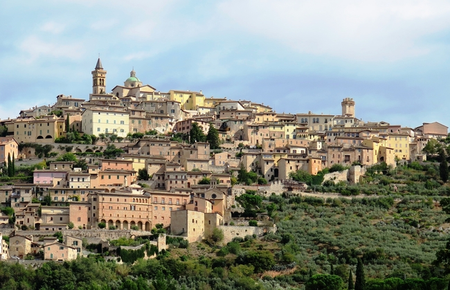 The village of Trevi is surrounded by olive groves. Photo by Victor Block