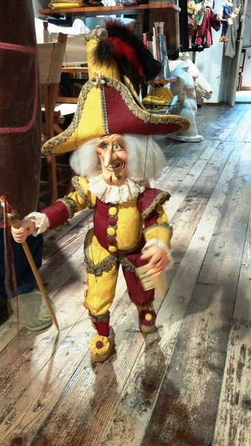 ONE OF THE MAGICAL MARIONETTES MADE ON VENICE'S PINOCCHIO ISLAND. PHOTO BY FYLLIS HOCKMAN