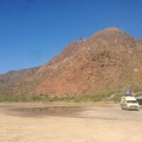 Girl and Van Meet Mexican Oasis - Mulege, BCS