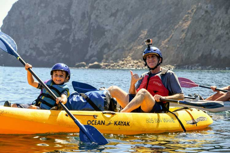 The author's family kayaking on Santa Cruz Island
