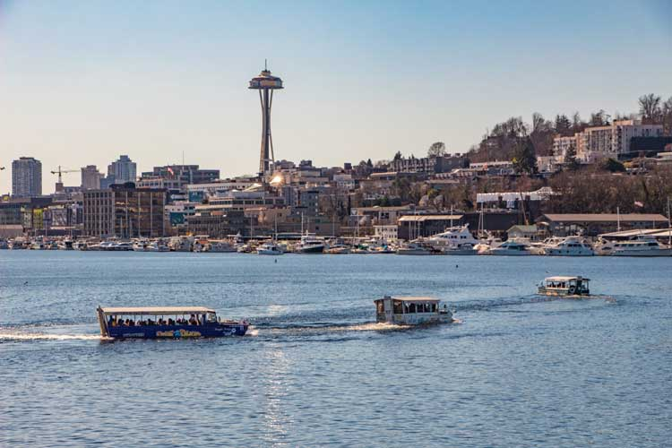 You'll see many famous Seattle landmarks on your Ride the Ducks of Seattle boat tour