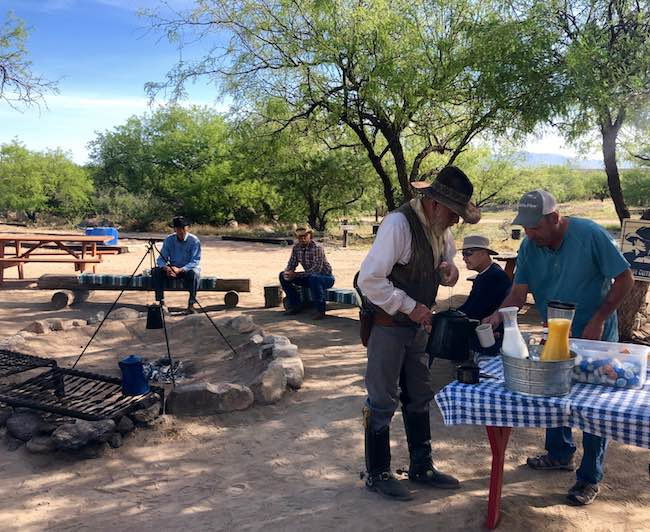 Campfire breakfast at Tombstone Monument ranch. Photo by Claudia Carbone