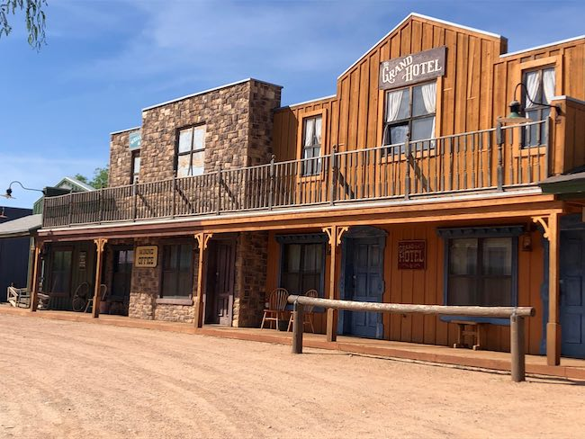 Dirt street and buildings of Tombstone Monument Ranch. Photo by Claudia Carbone