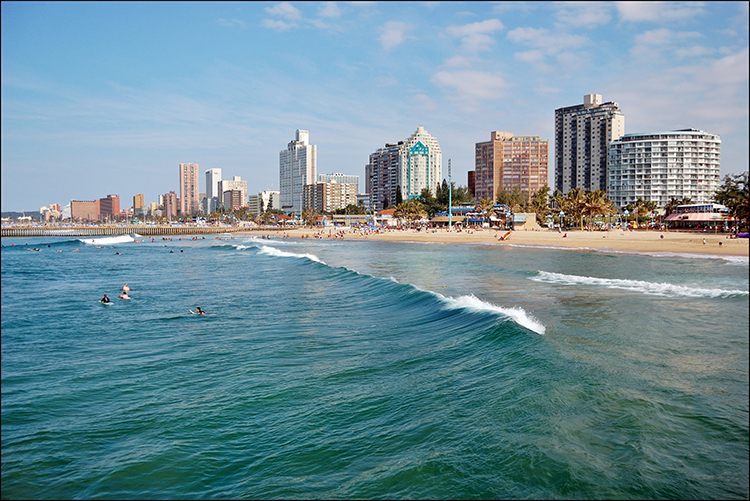 Golden Mile Beach in Durban, South Africa