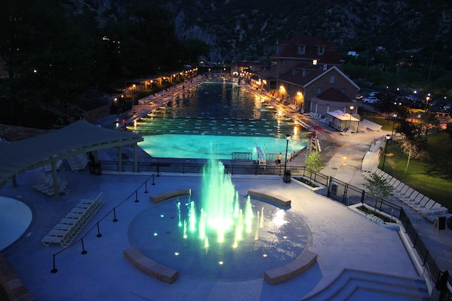 Night view of the pool and Grand Fountain. Photo courtesy of Glenwood Hot Springs