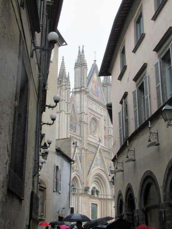 In Orvieto, Magdalena's favorite view of the Duomo from a narrow alleyway off the main square. Photo by Heidi Davis.