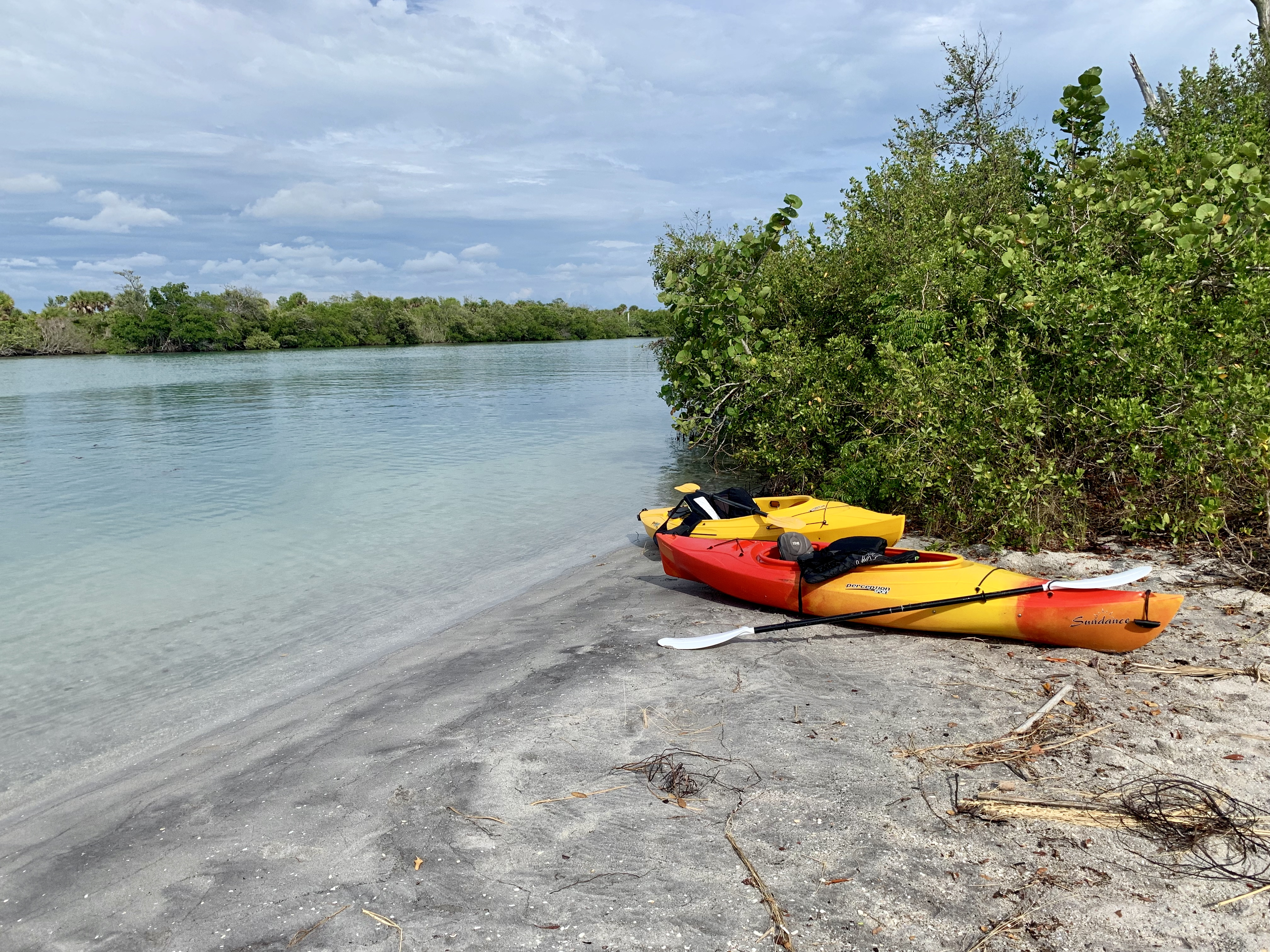 Kayakers on Lemon Bay take a pause at Stump Pass Beach State Park, Manasota Key. Photo by AY.