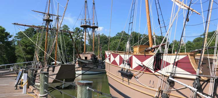 Ships at Jamestown Settlement. These are the first three ships to bring English colonists to North America, but would be similar to the privateers that brought the first enslaved Africans in 1619.