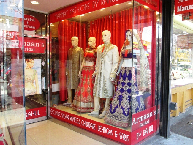 This store in Queens, New York sells traditional clothes from India. Photo by Victor Block