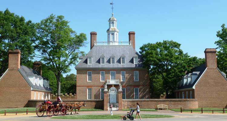 Williamsburg -- The Governor's Palace. The wealth of Williamsburg was created by the enslaved population, which was 50% of the residents at the time of the Revolution