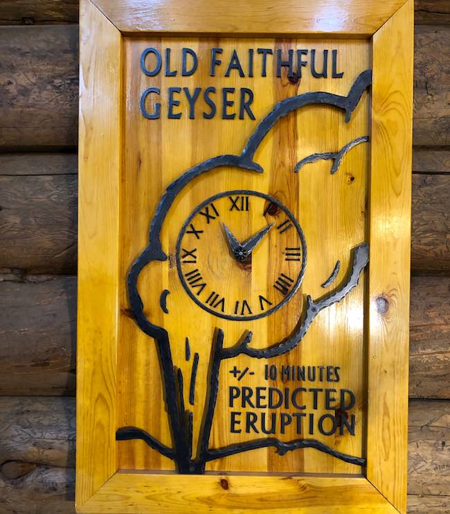 Old Faithful Geyser clock. Photo by Claudia Carbone