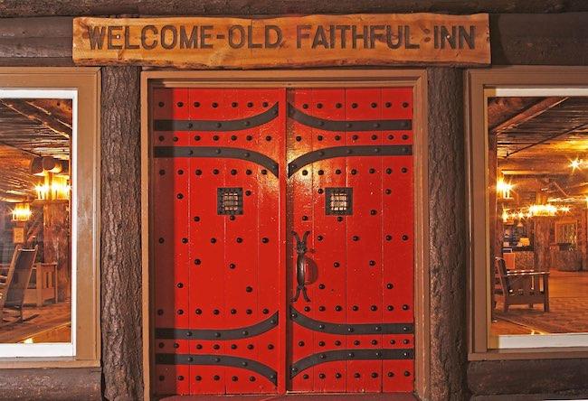 Entrance to Old Faithful Lodge in Yellowstone. Photo courtesy of Yellowstone National Park Lodges
