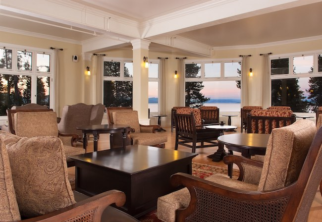 Sunroom at Lake Yellowstone Lodge. Photo courtesy of Yellowstone National Park Lodges