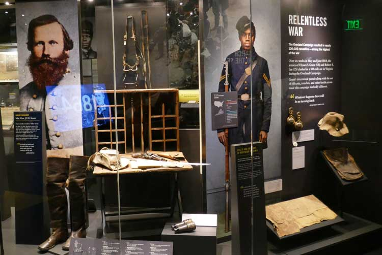 A perfect example of how to interpret the Civil War is the 21st century is apparent throughout the new American Civil War Museum in Richmond. Here, an exhibit of iconic items from Confederate General Jeb Stuart, including his famous feathered hat, is displayed side by side with exhibits on the 200,000 African American soldiers who fought in the war.
