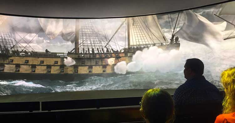 The American Revolution Museum at Yorktown uses 4D films where cannonballs come right at you, the theater fills with smoke during battles, the seats shake every time a cannon fires, and you can actually smell coffee and chocolate in some of the scenes.