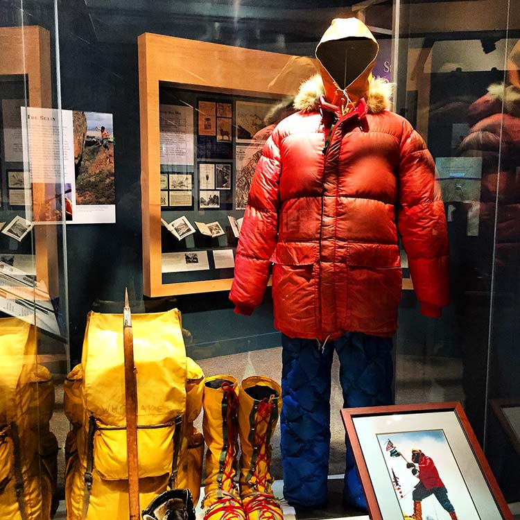 Eddie Bauer exhibit at American Mountaineering Museum. Photo by Rich Grant.