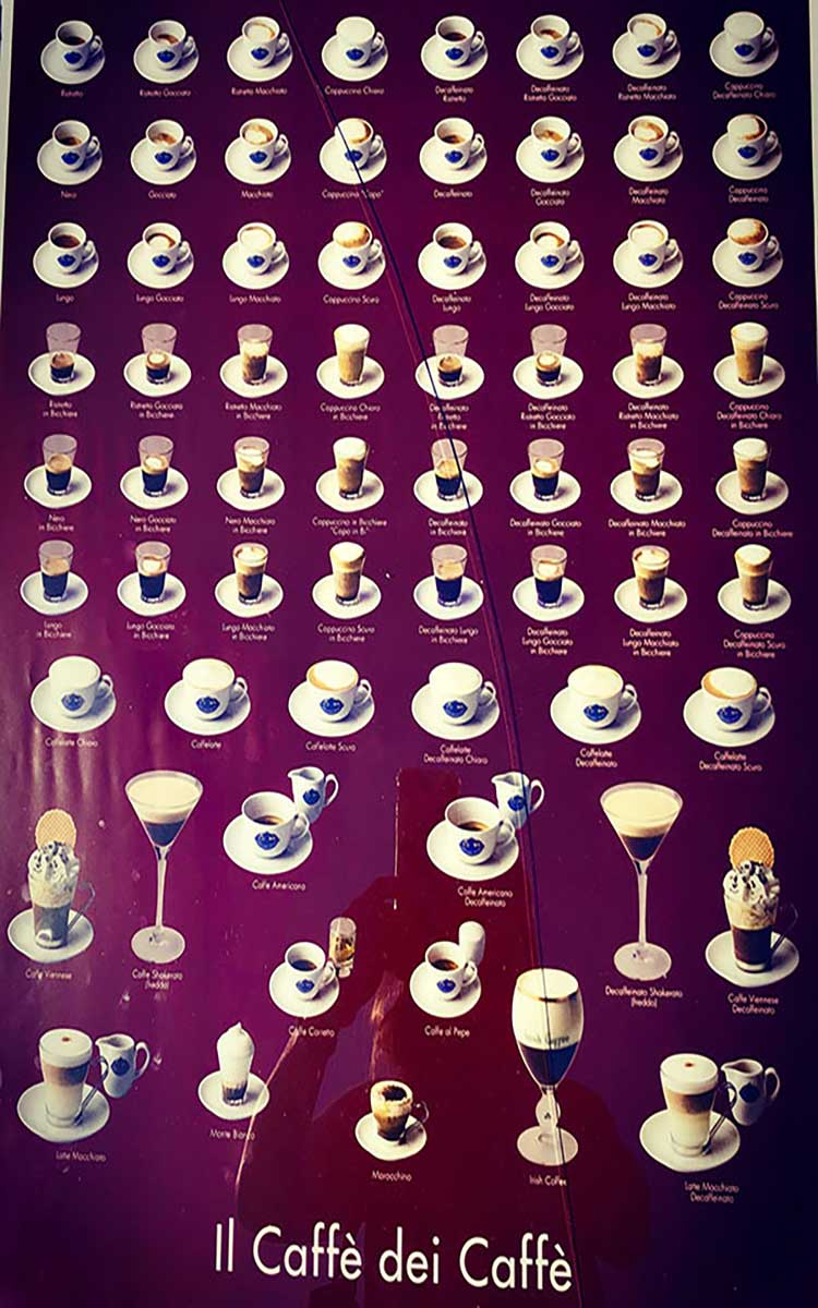 Glossary of coffee drinks at Caffè degli Specchi, opened in 1839.