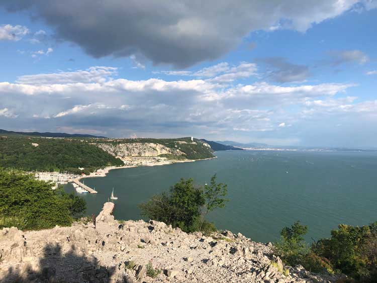 Cliff side view of Trieste coastline.