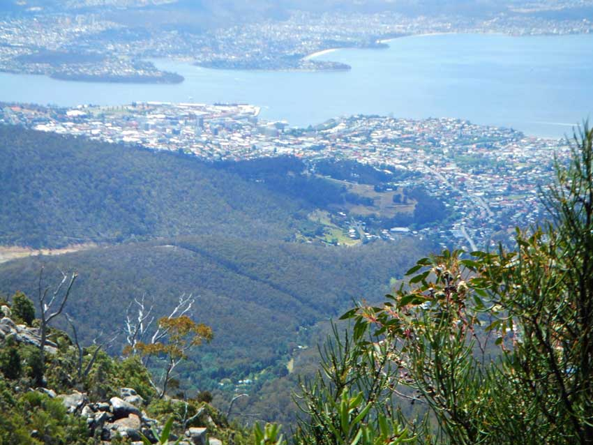 The view of Hobart from Mt. Wellington in Hobart, Tasmania. Flickr/Francois Marier