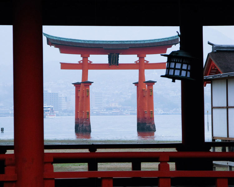 Itsukushima Island through the fog