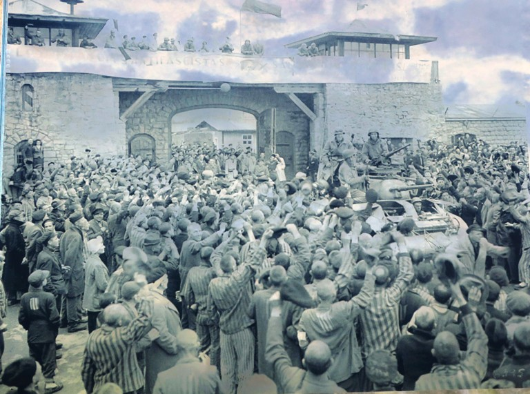 Picture of the May 5, 1945 Liberation of the Mauthausen Concentration Camp in  Austria. Photo by Fyllis Hockman