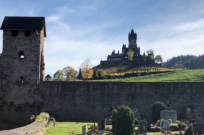 Reichsburg Castle sits high on the hill overlooking Cochem. Photo by Claudia Carbone