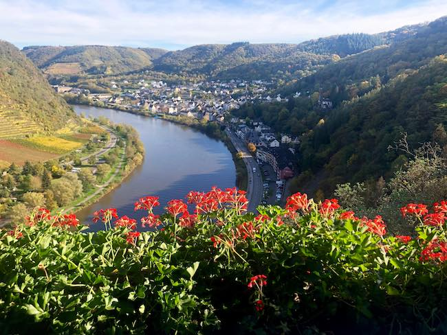 Cochem, Germany and the Moselle River seen from the Reichsburg Castle. Photo by Claudia Carbone