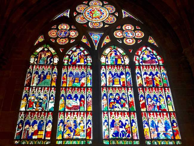 One of many stained glass windows of the Cathedral. Photo by Claudia Carbone