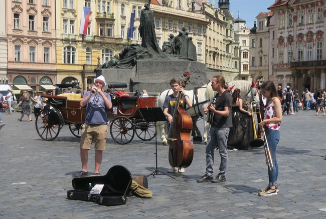 Prague provides a magnificent stage for street musicians. Photo by Victor Block