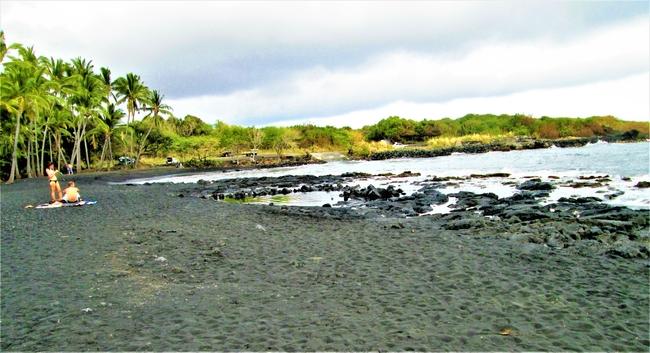 A Black Sand Beach on Hawaii Island. Photo by Victor Block