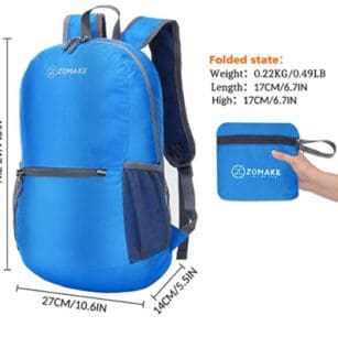 Zomake packable back pack.