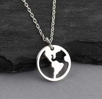 World globe sterling silver pendant