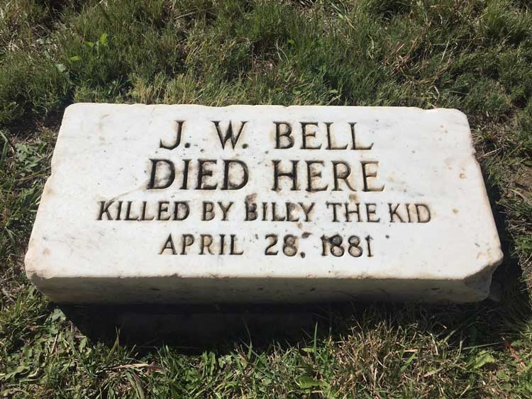 Tombstone marking J.W. Bell's place of death in Lincoln County, New Mexico. Photo by Rich Grant
