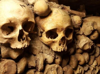 The catacombs in Paris.