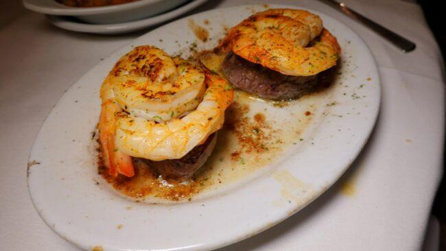 Petit filet with shrimp