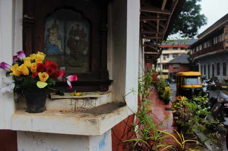 A city street corner in Fontainhas, Goa's Latin Quarter
