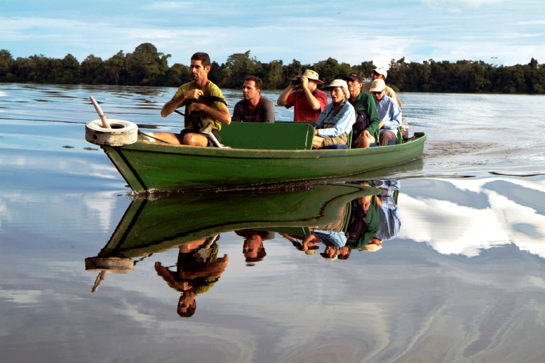 A Small Launch Provided Daytime and Nighttime Exploration of the Amazon. Photo by Amazon nature Tours