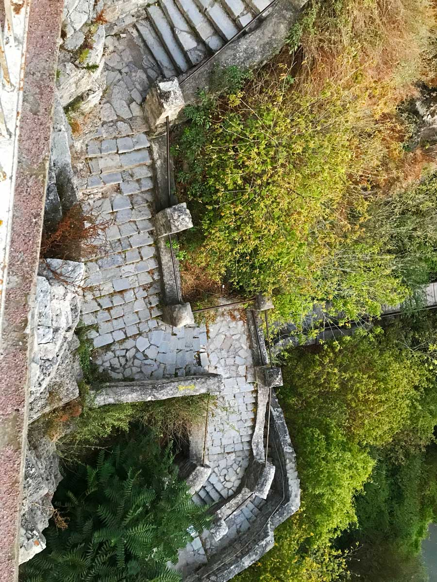 Stairwell from the castle bridge leading down to the Russian gate in Kamianets-Podilskyi. Photo by Amanda Renna