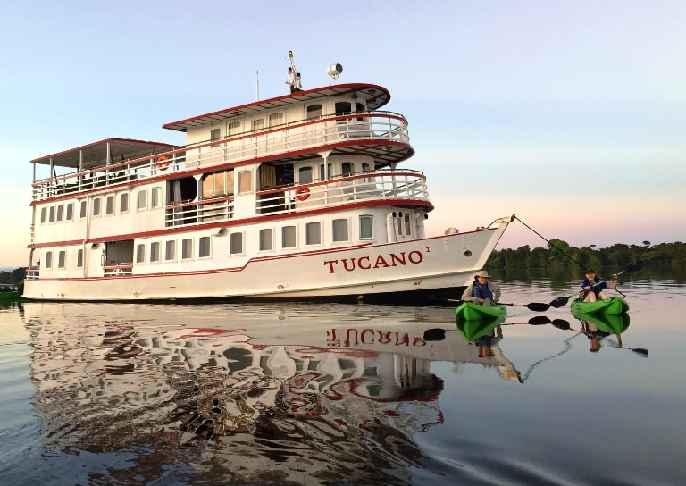 Tucano Motor Yacht Traversing the Amazon. Photo by Amazon Nature Tours
