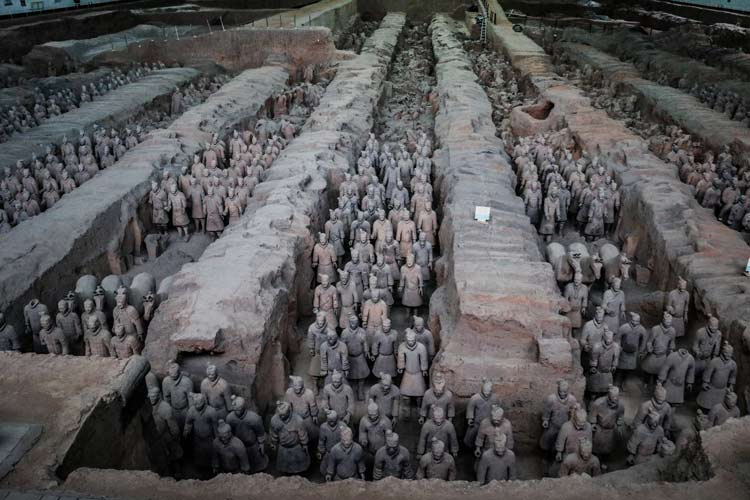 An army of terracotta warriors was discovered in Xian. Photo by Len Kaufman