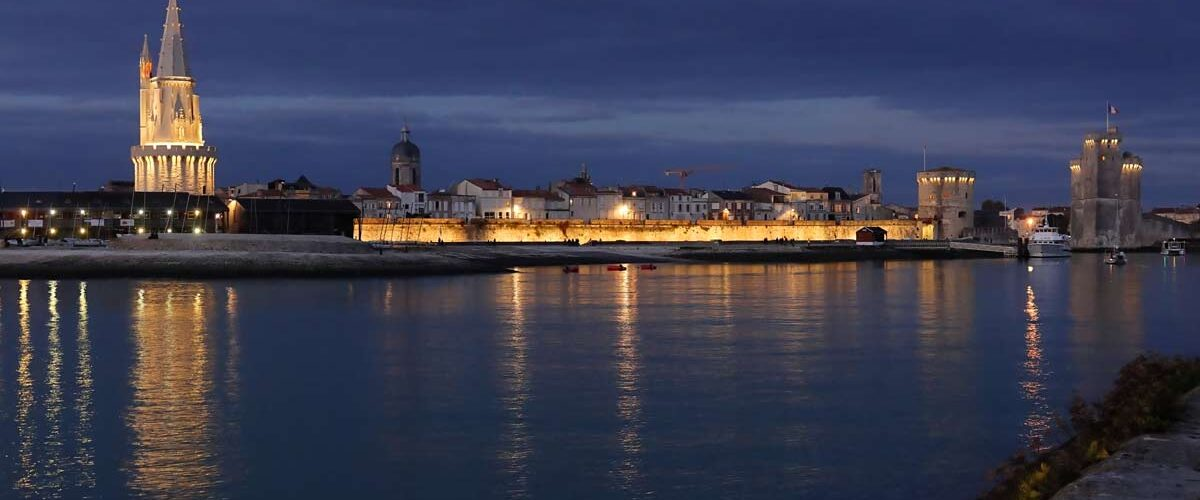 La Rochelle, France at night. Photo by Francis Giraudon