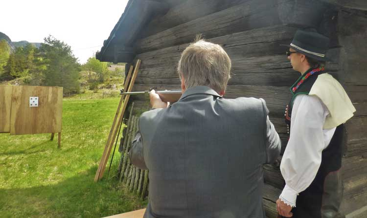 After the parade in Valle, Norway, you can compete in wood stacking and target shooting.