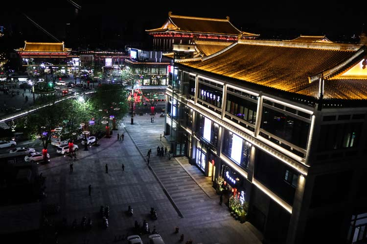 Xian at night. Photo by Len Kaufman