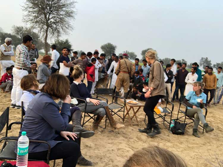 Crowds of villagers at our camp in Rajasthan, India