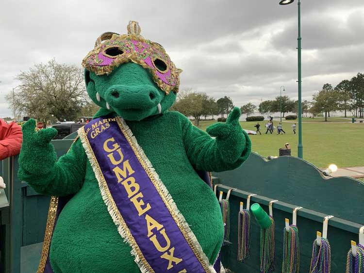 Gumbeaux the Mardi Gras Gator